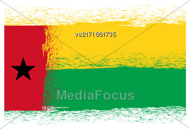 Flag Of Guinea Bissau. Symbol Has A Detailed Grunge Texture Stock Photo