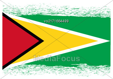 Flag Of Guyana. Symbol Has A Detailed Grunge Texture Stock Photo