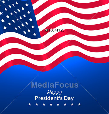 Flag USA Waving Wind For Happy Presidents Day, Patriotic Symbolic Vintage Decoration For Holiday - Vector Stock Photo