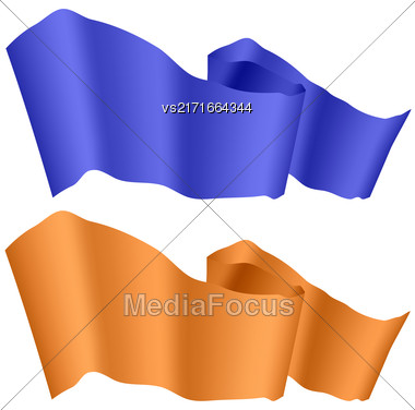 Flags Fluttering In The Wind. Blue And Orange Ribbons Isolated On White Background. Two Horizontal Curled Banners Stock Photo