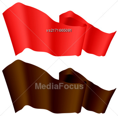 Flags Fluttering In The Wind. Brown And Red Ribbons Isolated On White Background. Two Horizontal Curled Banners Stock Photo