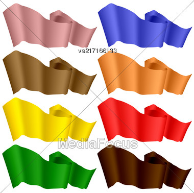 Flags Fluttering In The Wind. Colorful Ribbons Isolated On White Background. Horizontal Colored Curled Banners Stock Photo