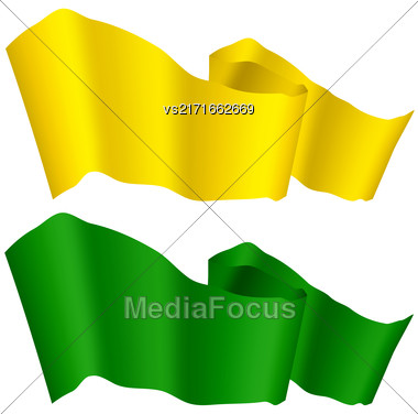 Flags Fluttering In The Wind. Green And Yellow Ribbons Isolated On White Background. Two Horizontal Curled Banners Stock Photo