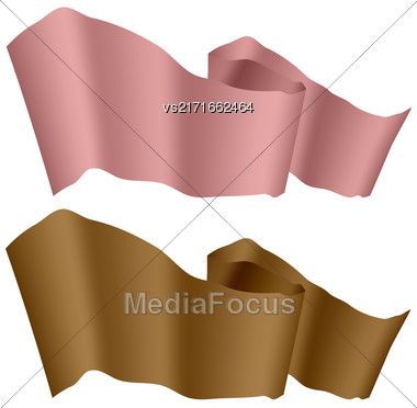 Flags Fluttering In The Wind. Pink And Brown Ribbons Isolated On White Background. Two Horizontal Curled Banners Stock Photo