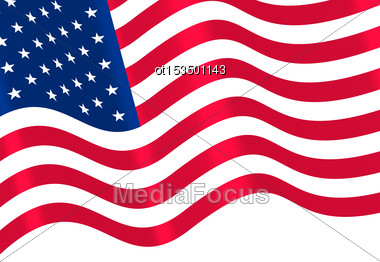 Flags USA Waving Wind And Ribbon For Independence Day 4th Patriotic Symbolic Vintage Decoration For Holiday Or Celebration Backgrounds - Vector Stock Photo