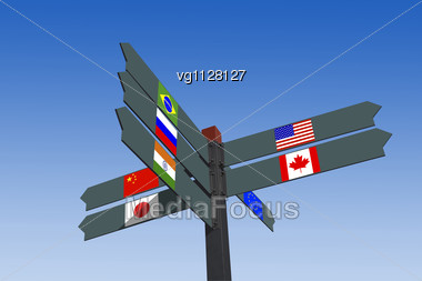 Flags Of The World Industrial Powers Directional Post Over Blue Sky Stock Photo