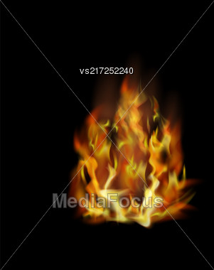 Flame Isolated Over Black Background. Hot Red And Yellow Burning Fire With Flying Embers Stock Photo
