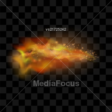 Flame Isolated Over Checkered Black Background. Hot Red And Yellow Burning Fire With Flying Embers Stock Photo