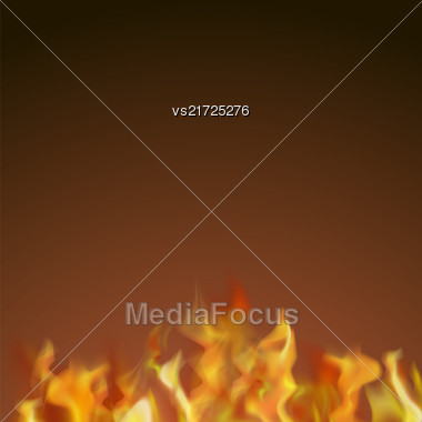 Flame Isolated Over Dark Background. Hot Red And Yellow Burning Fire With Flying Embers Stock Photo