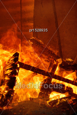 Flames And Smoke Rise From Burning Farm Building Stock Photo