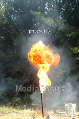Flare Burning Off Gas And Oil At Niagara 1 Oil Well, West Coast, South Island, New Zealand Stock Photo