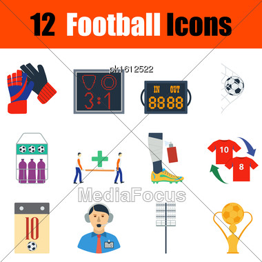 Flat Design Football Icon Set In Ui Colors. Vector Illustration Stock Photo