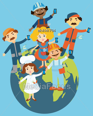 Flat Design Illustration Of Cartoon People Standing On The Globe Holding Mobile Phones In Their Hands. Cartoon People Representing Different Occupations And Ethnic Gropes. Info Graphic Elements Stock Photo
