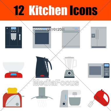 Flat Design Kitchen Icon Set In Ui Colors. Vector Illustration Stock Photo