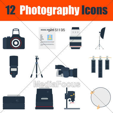 Flat Design Photography Icon Set In Ui Colors. Vector Illustration Stock Photo