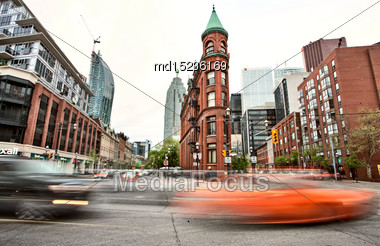 Flat Iron Building Toronto Front And Church Street Stock Photo