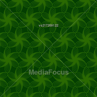 Floral Green Line Pattern. Decorative Repeated Structure Stock Photo