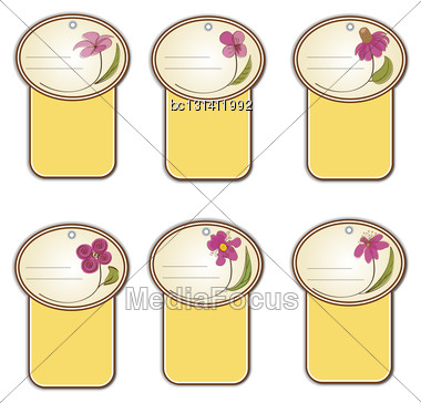 Floral Labels Set In Vector Format Stock Photo