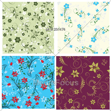Floral Seamless Background For Yours Design Use. For Easy Making Seamless Pattern Just Drag One Of Groups Into Swatches Bar, And Use It For Filling Any Contours Stock Photo