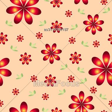 Floral Wallpaper With Set Of Different Flowers. Could Be Used As Seamless Wallpaper, Textile, Wrapping Paper Or Background Stock Photo