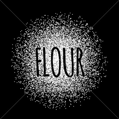 Flour In The Form Of White Powder On A Black Background. Vector Illustration Stock Photo