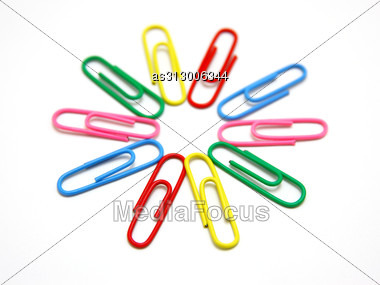 Flower From Paper Clips. Stock Photo