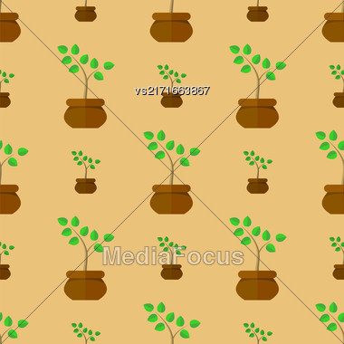 Flower Pot Seamless Pattern. Floral Natural Background Stock Photo