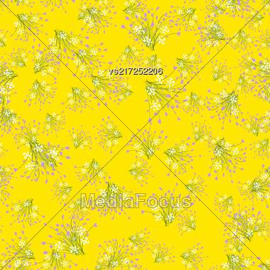 Flowers Seamless Pattern Isolated On Yellow Background Stock Photo