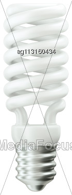 Fluorescent Energy Efficient Light Bulb Isolated Over White Stock Photo