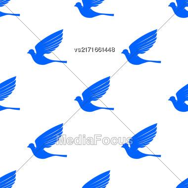 Fly Dove Seamless Pattern. Blue Bird Background Stock Photo
