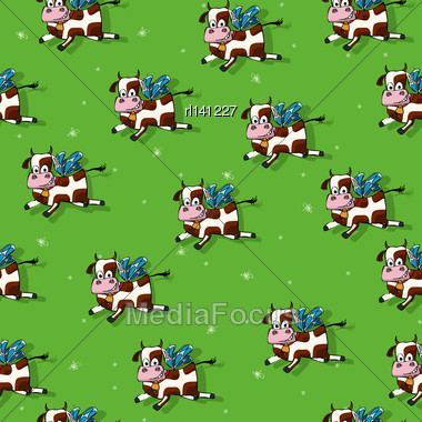 Flying Cows Cartoon, Seamless Pattern Design Stock Photo