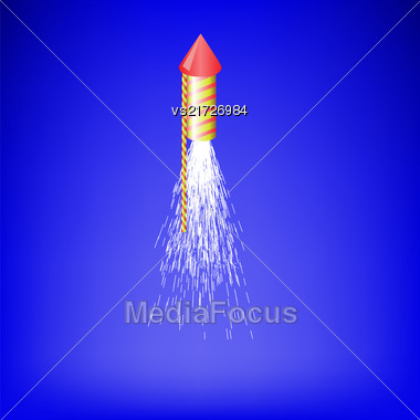 Flying Firework Isolated On Blue Blurred Sky Background. Burning Petard With Fire Flame Stock Photo