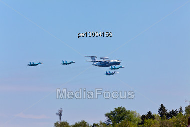 Flying Radar And Fighters On Air Parade Stock Photo