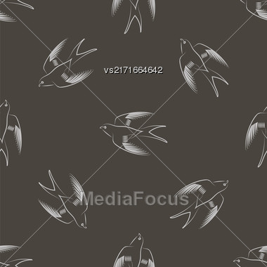 Flying Swallow Animal Seamless Pattern. Bird Geometric Background Stock Photo