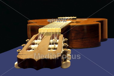 Focus On The Mechanics Of Six-string Classical Musical Instrument Stock Photo