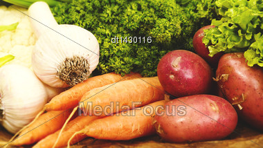 Food Banner With Fresh Vegetables For Your Design Stock Photo