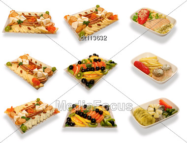Food Set For First Class Air Passengers Stock Photo