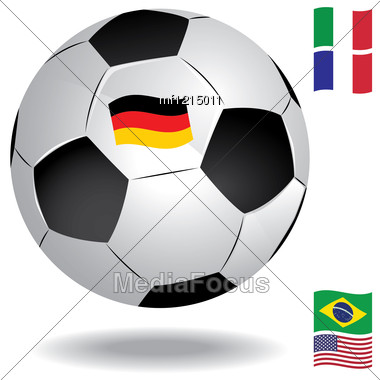 Football Ball With Flags Of Several Countries (Germany, USA, Italy,France, Brazil) Stock Photo