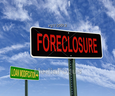 Foreclosure And Loan Modification Road Signs Over Blue Sky, Housing Problem Concept Stock Photo