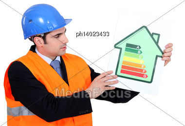 Foreman Holding Panel Stock Photo