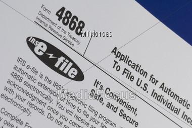 Form 4868 Tax Deadline Extension Stock Photo