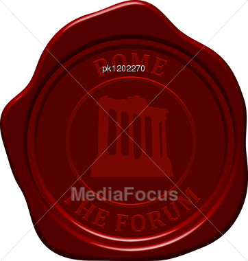 Forum. Sealing Wax Stamp For Design Use. Stock Photo