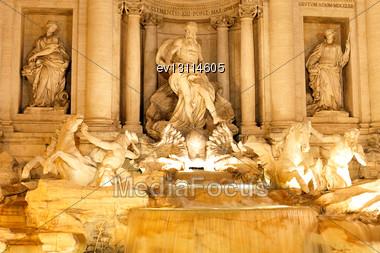 Fountain Di Trevi - Most Famous Rome's Fountains In The World. Italy. Night Scene Stock Photo