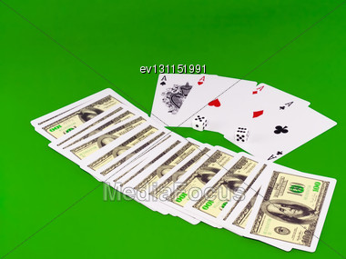 Four Aces And Dice On Green Broadcloth (background Stock Photo