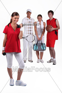 Four Active Teenagers Stock Photo
