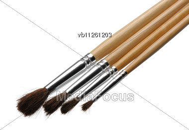 Four Brushes For Painting A Different Size Stock Photo