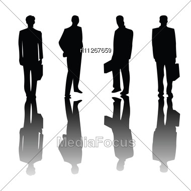 Four Business Man Silhouettes Stock Photo