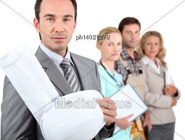 Four Different Occupations Stock Photo