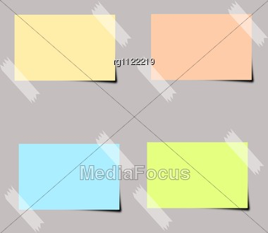 Four Differently Colored Sticker On A Gray Background Stock Photo