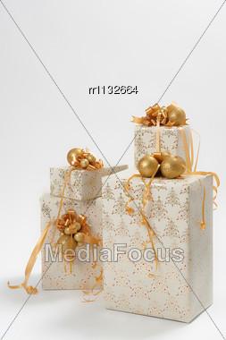 Four Gift Box With Toys Stock Photo